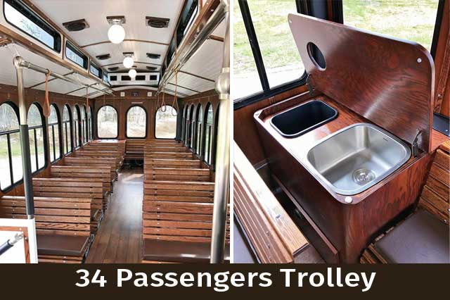 Interior and Cooler in our 34 Passenger Trolley