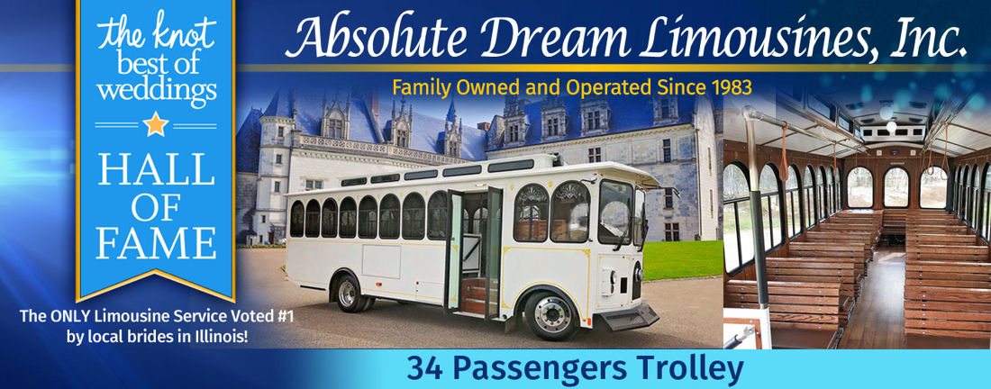 34 Passenger White Trolley Limo